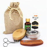 6 Pcs Beard Care Set Barba Barba Óleo Creme para barba Pente de dupla face Escova Escova Bolsa Tesoura