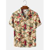 Cotton Multiple Floral Print Button Up Hawaii Holiday Short Sleeve Shirts