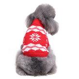 FlocoDeNevedenatalPet Cachorro Gato Outono Inverno Camisolas Quente Pullover Hoodie Costume