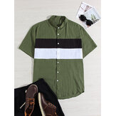 Mens 100% Cotton Light Breathable Color Block Patchwork Short Sleeve Shirts
