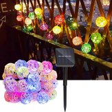 Solar Powered 5M 20LEDs Multicolor Rattan Ball String Light pour fête de mariage