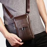 Mannen echt leer 7 Inch Retro telefoon tas heuptas riem tas Crossbody tas Sling Bag