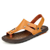 Men Clip Toe Genuine Leather Sandals