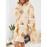 Women Orange Graphics Plush Lined Oversized Blanket Hoodie Pajama Robes With Pouch Pocket