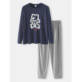 Mens Cartoon Bear Chest Print Cotton Round Neck Top Loose Pants Home Casual Pajamas Set