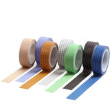 10pcs Grid Washi Tape Solid Color Paper DIY Planner Masking Tape Adhesive Tapes Stickers Decorative Stationery Tapes Supplies