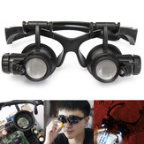 LED Light Magnifier Loupe Glasses 10X 20X 25X 15X Binocular Lens Magnify Repair
