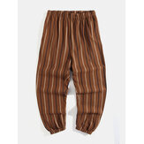 100% Cotton Mens Vintage Style Stripe Print Elastic Waist Casual Pants With Pocket