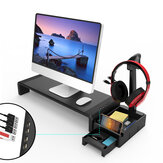 Multifunctional Monitor Stand Riser Laptop Stand with 4 USB Ports Earphone Stand Desktop Organizer Drawer Storage Box