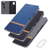 Bakeey Flip Stand Steel Layer Canvas Pattern PU Leather Full Protective Case for Xiaomi Mi 10 Lite Non-original