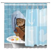 Cat Bathing Bathroom Shower Curtain Waterproof Fabric With 12 Hooks