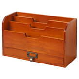 Vintage Wooden Desktop Storage Box Creative Small Bookshelf Magazines Pens Sundries Storage Rack for Home Office