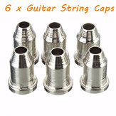 6 x Chrome Guitar String Through Body Ferrule 1/4