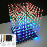 DIY WIFI APP 8x8x8 3D Light Cube Kit Rosso Blu Verde LED MP3 Music Spectrum Kit elettronico No Housing