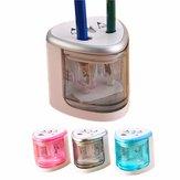 Automatisk 2-hulspenksliper Elektrisk batteridrevet blyantspidser Papirvarer Hjemmeskolekontor Brug