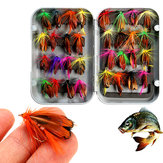 ZANLURE 32pcs Misturado Truta Moscas Lure Fly Fishing Tackle com Caixa