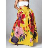 Γυναικεία Floral εκτύπωση Casual Ελαστική ψηλή μέση φούστες Maxi με τσέπη