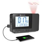DigooDG-C10LCDSansFilUSB Rechargeable Rétro-Éclairage Projection Houloge Température Humidité Affichage Houloge de Bureau pour Téléphone Pad Haut-Parleur