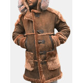 Mens Patchwork Faux Suede Fleece Lined Hooded Coats With Pocket