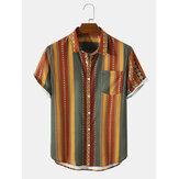 Original              Mens Vintage Striped Geo Print Lapel Holiday Short Sleeve Shirts