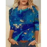 Blusas casuais de manga comprida feminina com decote em O com estampado abstrato feminino tie-dye