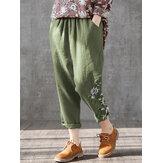 Flowers Print Elastic Waist Plus Size Casual Pants For Women