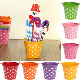 Mini Polka Dot Iron Sheet Flower Pot Flower Potted Plant Flowerpot Garden Decoration
