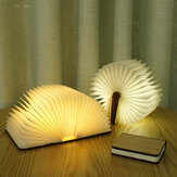 Creativo Flip Page Book Light Luz de noche de madera de arce blanco USB recargable