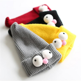 Baby Sesame Street Children Korean Big Eyes Cute Cartoon Set Knitted Caps Ski Bonnets Hats
