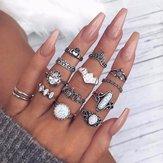 14 anneaux rétro tortue coeur coeur