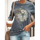 Camisetas de manga larga con estampado de libélula para mujer vendimia