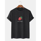 Cotton Strawberry Letter Print Simple Short Sleeve T-Shirts