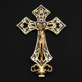 Metal Alloy Jesus Christ Cross Golden Arrangement Vintage Statue Table Decor Box Decorations
