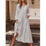 Mulheres botão de cor sólida com decote em v plissado manga comprida vestido maxi vintage