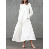 Women Solid Color O-Neck Long Sleeve Pleated Swing Maxi Dresses With Side Pocket