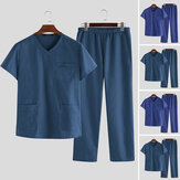 Original              Mens Short Sleeve Soft Pajamas Set V Neck T Shirt Pants Suit Sleepwear