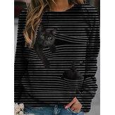Damska bluzka w paski z długim rękawem 3D z czarnym kotem