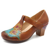 SOCOFY Floral Pattern Chunky Heel Shoes