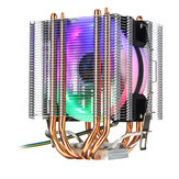 4Pin 4 Heatpipes Colorful Disipador de calor de ventilador de enfriamiento de CPU retroiluminado para Intel AMD