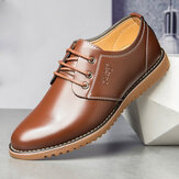 Men Pure Color Microfiber Comfy Low Top Lace-up Business Casual Leather Shoes