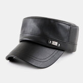PU Leather Keep Warm Simple Retro Hat Navy Hat Military Hat Flat Hat For Male