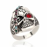 Vintage Halloween Men's Jewelry Skull Head Punk Veelkleurige Strass Ring voor Mannen