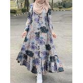 Damska bawełniana, kwiatowa sukienka z falbankami Hem Henry Neck Czeska sukienka maxi z długim rękawem