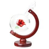 天気予報ローズクリスタルグローブ木製ベースストームグラスホームデコレーションギフト