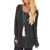 Women Casual Lace Pullover Knitted Long Sleeve Sweaters