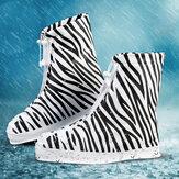 PVCFemmesPluieChaussuresCouvrentRéglable Double Couches Zebra Motif Imperméable Pluie Chaussures Réutilisables Couvre Chaussure de Pluie antidérapante