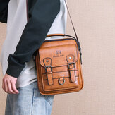 Hombre Faux Leather Multi-bolsillo Antirrobo Multi-Capas Impermeable Business Crossbody Bolsa