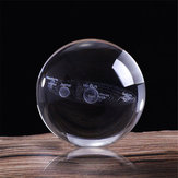 6cm Engraved Solar System Ball 3D Miniature Planets Model Crystal Ball Decorations + Stand