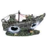 حوض السمك زخرفة حطام القوارب الشراعية غرقت سفينة المدمرة حوض للأسماك كهف ديكور نموذج