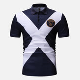 Mænd Cross Color Block Muscle Fit Golf Shirt